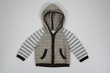 Piper & Posie Gray Brown White Striped Zip Front Hoodie Sweater Size 6-9 Months