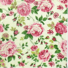 4x Single Table Party Paper Napkins for Decoupage Decopatch Rose Fabric