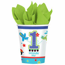 18 All Aboard Blue Boy's 1st Birthday Party Disposable 9oz Paper Cups