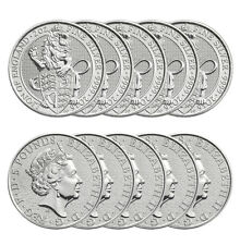 2016 2 oz British Silver Queen's Beast Coin (BU, Tube, Lot of 10)