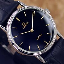VINTAGE MEN'S OMEGA DE VILLE MANUAL WINDING ANALOG DRESS WATCH LEATHER BAND