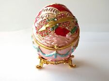 Pink Music Themed Egg Shaped  W/ Crystals Trinket Box  Faberge Inspired
