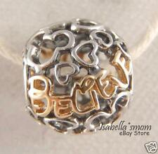 DISNEY COLLECTION Genuine PANDORA Silver/14K GOLD 2 Tone BELIEVE Charm/Bead NEW