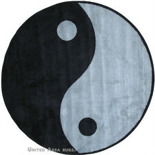 "51"" x 51""  Round  Rug  Ying Yang   Kung Fu  Design  Black & Gray Sports 5x5  New"