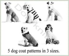 Vintage Knitting pattern for 5 dog coats in sizes sm.med.lge.