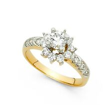 14k Yellow Gold Round CZ Engagement Ring Anniversary Solitaire Flower CZ Band