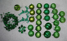 Green Christmas Tree Decorations LOT Ornaments Garland Balls Snowflake Reindeer