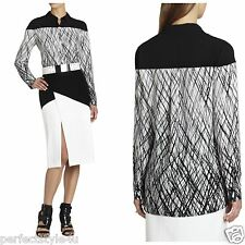 NEW BCBG Off White Combo KATEE Long-Sleeve Printed Shirt Top S $198 CYM1T185