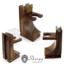 SHARPY LUXURY WOOD SHAVING STAND FOR SHAVING BRUSH SAFETY RAZOR, STRAIGHT RAZOR