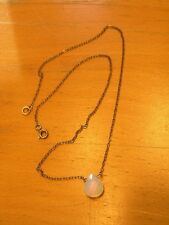 Lovely Vintage Cut Faceted Tear Drop Opal Bead Pendant Necklace Sterling Chain
