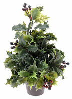 Mini Christmas Tree Desk Top Holly Christmas Tree in Pot with Red Berries