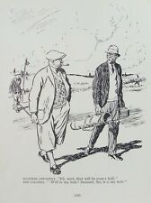 Antigua Impresión Punch Cartoon golfistas C1930 del Scotsman al coronel Vintage Humor