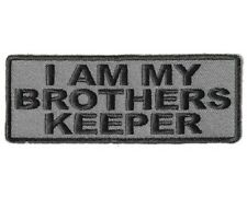 """(C25) I AM MY BROTHERS KEEPER 4"""" x 1.5"""" GREY iron on patch (4002) Vest Jacket"""