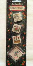"""Mary Engelbreit """"Gardening"""" Flowers Rubber Stamps Set of 3 with Red Ink Pad"""