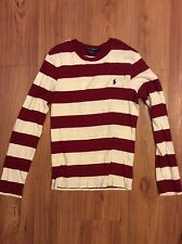 Women's Ralph Lauren Sport Size Large Red and White Striped Light Sweater Shirt