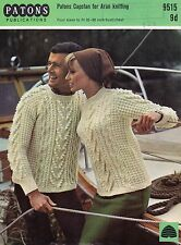 PATONS 9515 ARAN Knitting Pattern His & Hers Sweater Jumper 32-38* Bust
