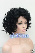 Women ladies Short black/blonde/Grey mix Curly wavy Natural Hair wigs + Wig cap