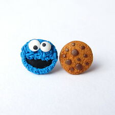 Funny Cookie Monster The Muppet Show Sesame Street Blue Girls  Earrings Jewelry