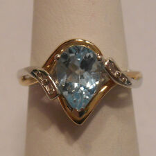 Vintage Estate~AV Signed~Aquamarine & Diamonds 10k Gold & 925 Silver Ring Size 7