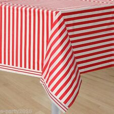 RED STRIPES PLASTIC TABLECOVER ~ Birthday Party Supplies Room Decorations Cloth
