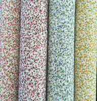 Floral PolyCotton Fabric Tiny Meadow Red Pink Blue Yellow U choose colour&Length