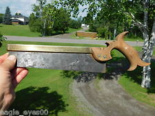 ANTIQUE ENGLISH BRASS BACKED OPEN HANDLE DOVETAIL/TENON SAW GROVES & SONS c1880