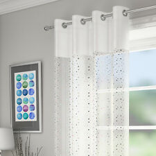 SEQUINS DIAMANTE VOILE NET CURTAIN EYELET RING TOP PANEL WHITE SILVER BLACK RED
