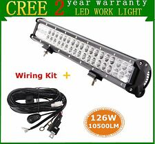 20inch 126W CREE LED Spot Flood Work Light Bar Offroad UTE Boat Lamp+ Wiring Kit