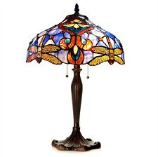 "CH1B717BD17-TL2 Dragonfly Tiffany Style Stained Glass 2-Lt Table Lamp 17"" Shade"