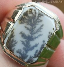 Antique 1920's Art Deco Natural Dendritic Agate 10k Solid Yellow Gold Men's Ring