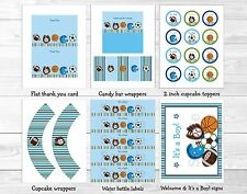 Sports All Star Football Baseball Soccer Printable Baby Shower Party Package