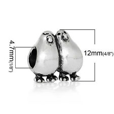 """Love Birds"" Charm Bead Spacer for Snake Chain Charm Bracelets 2691"