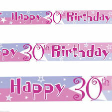 12ft Pink Blue Happy 30th Birthday Star Foil Banner Decoration