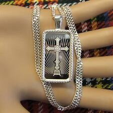 New Sterling Silver faith bullion pendant with 10g fine silver bar & chain