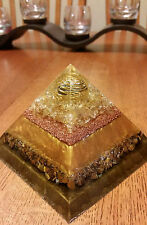 Large Divine Golden Ray of Light Healing Orgone Crystal Pyramid -Very Powerful!!