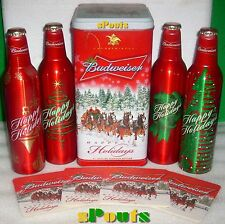 07 HOLIDAY BUDWEISER CHRISTMAS CLYDESDALE TIN 4 ALUMINUM BEER BOTTLE-CAN+COASTER