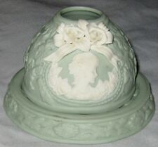 "Green White 4 1/2"" Jadette Stoneware Carved Cameo Flowers 2 Pc Figurine Holder"