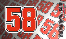 MARCO SIMONCELLI #58 RACE NUMBERS STICKERS x2 100mm * Super-Juicy Laminated