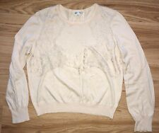 Carven Peach Blush Lace Insert Cotton Knit Jumper Sweater Top M Uk 10