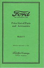 Model T - Price List of Parts and Accessories