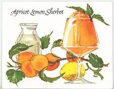 VINTAGE FRUIT APRICOT LEMON JELLO SHERBET RECIPE & 1 BREAD BASKET CARD ART PRINT