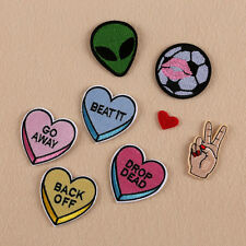 8pcs Embroidered Sew Iron on Patch Badge Heart Alien DIY Clothes Applique Fabric