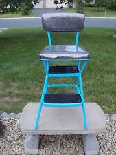 Vtg COSCO Aqua & Black Cosco Kitchen Step Ladder Chair Stool Flip Seat Man Cave