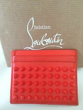 Auth. Christian Louboutin Papaye/Orange Kios Spikes Card Hoder