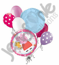 7 pc Peppa Pig w/ Stuffed Animal Balloon Bouquet Party Decoration Nick Birthday