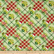 NEW!!  Despicable Me Christmas Minions on Plaid Cotton Fabric by the HALF YARD