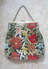 """JAPAN"" VINTAGE CARPET BAG Flower Handbag Red Orange Chain Purse Handmade Fabric"