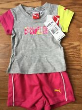 Puma Outfit 2 Piece Baby Toddler Size 12 Months Pink Yellow And Gray NWT