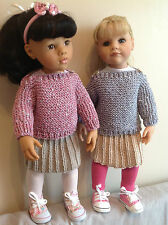 "Dolls Fashion clothes knitting  pattern to fit 18"" doll. VERY EASY KNIT"