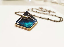 Glass Crystal Pyramid Glow In The Dark Stardust Nebula Necklace galaxy stars